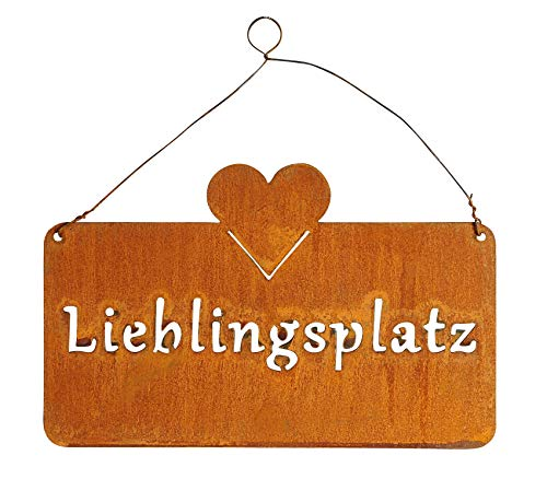 levandeo Schild Lieblingsplatz 25x16cm Herz Garten-Deko Rost Rostdeko Türschild Wandbild Schriftzug...