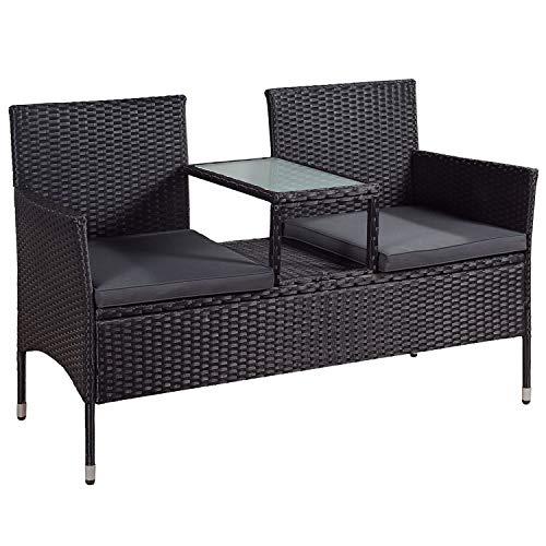 ArtLife Polyrattan Gartenbank Monaco | 2er Sitzbank mit integriertem Tisch schwarz | dunkelgraue...
