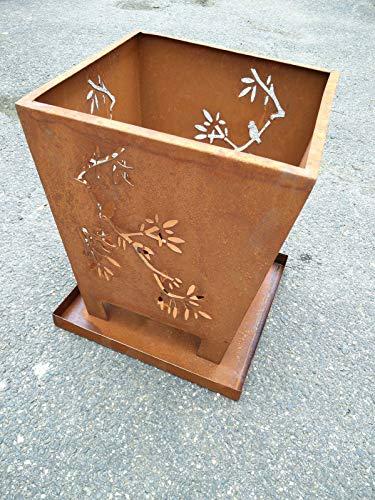 Zen Man Garten Feuerschale Metall rostoptik Feuerschale Rost Handarbeit B34*B25cm*H40cm