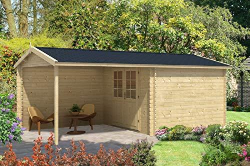 Alpholz Gartenhaus Ruben-28 aus Massiv-Holz   Gerätehaus mit 28 mm Wandstärke   Garten Holzhaus...