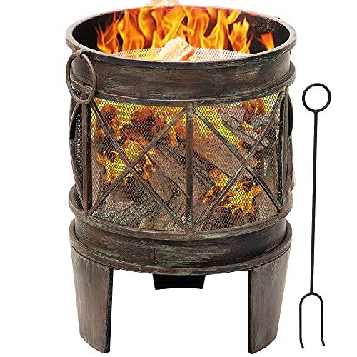 Amagabeli Feuerschale mit Funkenschutz 58 x 42 cm Feuerkorb mit Funkenschutz & Griffen Feuerschalen...