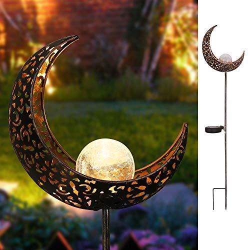 Takemeuro Mond-Solarleuchten Garten im Freien, wasserdichte Metall-LED-Pfahlpfad-Deko-Leuchten