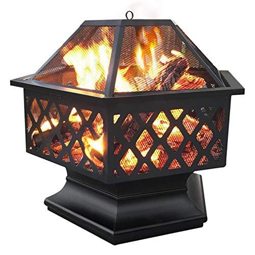 Yaheetech Feuerstelle Garten, Ø 61cm, Feuerkorb, sechseckige Feuerschale, Feuerschale für...