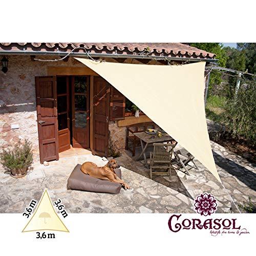 Corasol 110459 Premium Sonnensegel inkl. Zubehör, 3,6 x 3,6 x 3,6 m, Dreieck, wasserabweisend,...