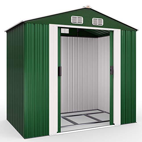 Deuba XL Metall Gerätehaus 2,4m² mit Fundament 210x132x186cm Schiebetür Grün Geräteschuppen...