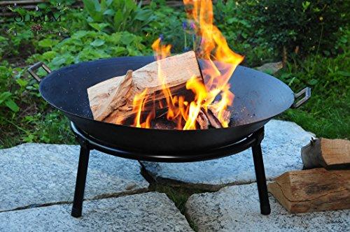 Oelbaum Grill Feuerschale aus Gusseisen mit 2 Griffen + Standring, LEICHT+STABIL, groß 60 cm, mit...