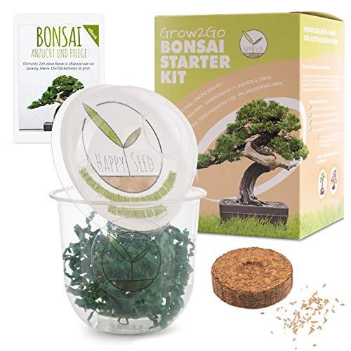 GROW2GO Bonsai Starter Kit Anzuchtset inkl. GRATIS eBook - Pflanzset aus Mini-Gewächshaus, Samen &...