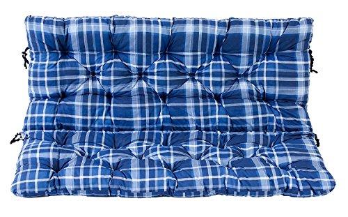 Ambientehome 2er Bank Sitzkissen und Rückenkissen Hanko, kariert blau, ca 120 x 98 x 8 cm,...