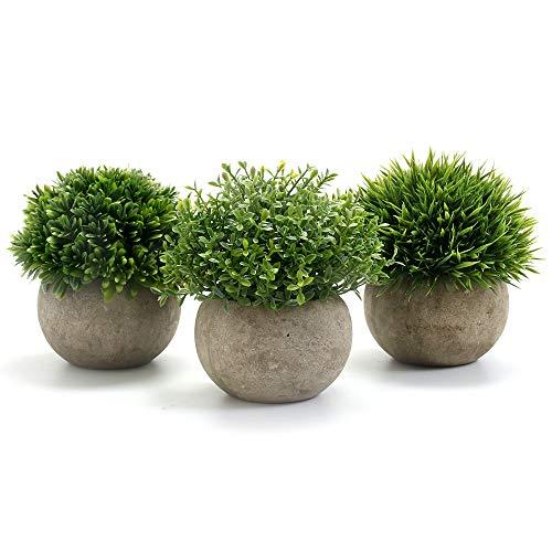 GoMaihe Kunstpflanze 3 Stücke Künstliche Pflanze mit Grauem Topf, 9.5 x 13cm Indoor und Outdoor...