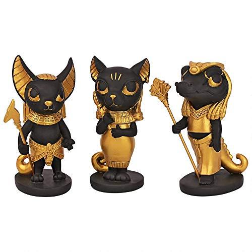 Design Toscano Wee Gods of The Egyptian Realm Statue, Polyresin, Zweifarbiges Schwarz und Gold, Set...