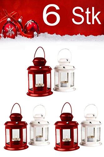 Weihnachtslaterne 6er SET Windlicht Laterne 13cm hoch für Weihnachten   kleine Laternen für...