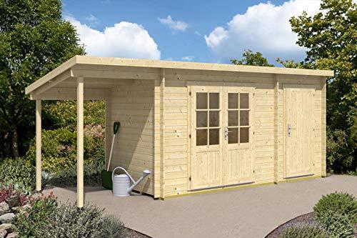 CARLSSON Alpholz Gartenhaus Martina-28 mit Anbau aus Massiv-Holz   Gerätehaus mit 28 mm Wandstärke...