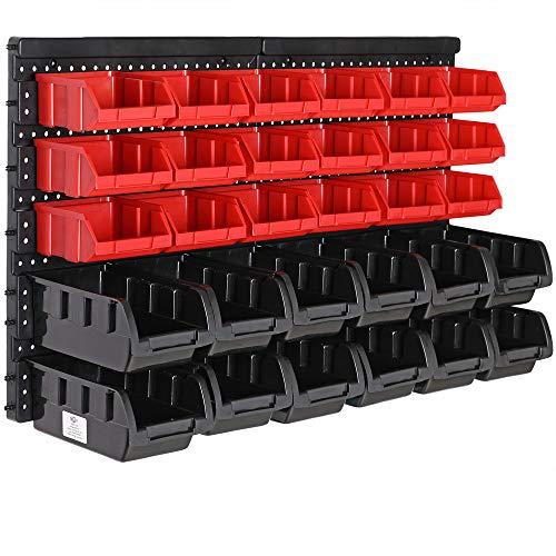Deuba Wandregal mit Stapelboxen 32 tlg Box Starke Wandplatten Erweiterbar Werkstattregal...