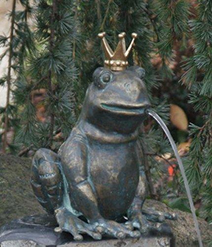 Rottenecker Gartenfigur Froschkönig Ratomir mit vergoldeter Krone, Bronze, Höhe: 17 cm