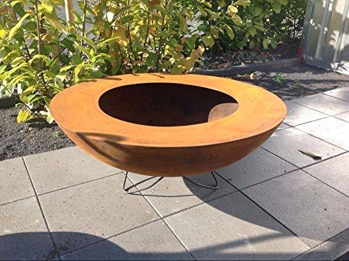 Zen Man Edelrost Garten Feuerschale mit Staender Rost Feuerschale Feuerkorb aus Metall Rostig...