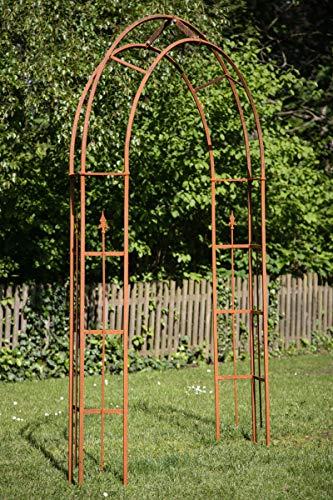 KUHEIGA Stabiler Rosenbogen Metall B:180cm, Rankbogen Edelrost, Metallbogen Rost