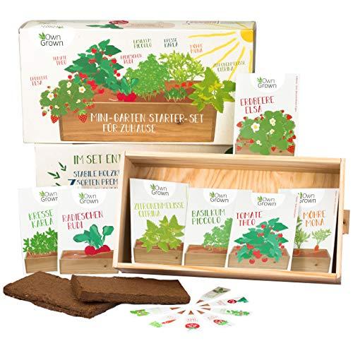 Großes Saatgut Anzuchtset mit Holzkiste (37x20x10cm) und 7 Sorten, Gemüse und Kräuter Samen...