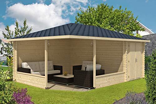 Alpholz 5-Eck Gartenlaube Maik-40 mit Anbau aus Massiv-Holz | Gartenhaus mit 40 mm Wandstärke |...