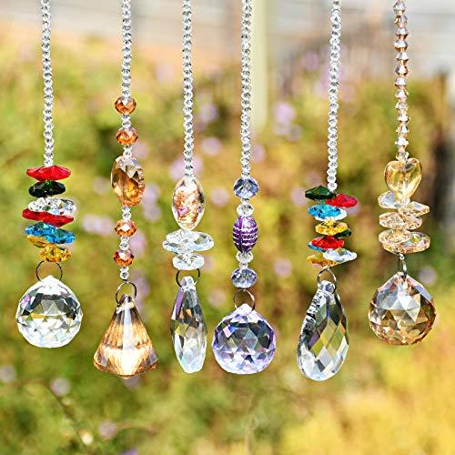 Kristall Sonnenfänger Fenster, Kristalle Deko Anhänger, Kristall Glas Prisma Anhänger Lampen Deko...