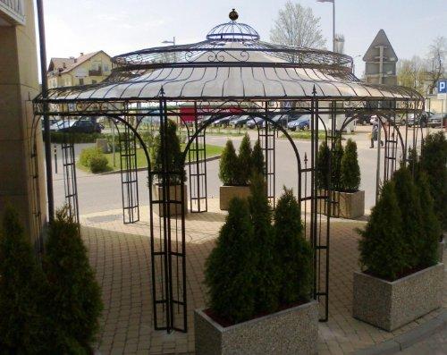 KUHEIGA Stabiler Gartenpavillon Ø 550cm aus Metall, Rost Pavillon