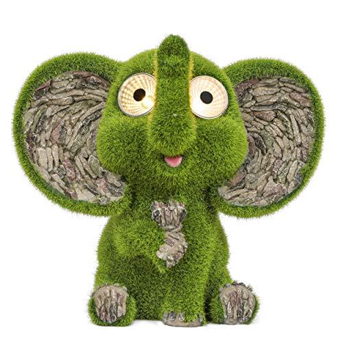 TERESA'S COLLECTIONS Niedliche Elefant Wetterfest Figuren mit Augen Solarleuchte für Außen 23cm...
