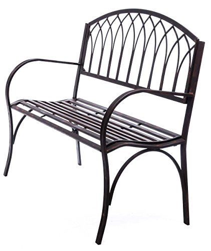 aubaho Nostalgie Gartenbank Metall Eisen Antik-Stil braun Gartenmöbel Garten Park Bank