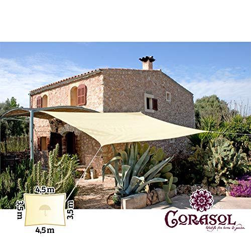 Corasol 110329 Premium Sonnensegel inkl. Zubehör, 3,5 x 4,5 m, Rechteck, wasserabweisend,...