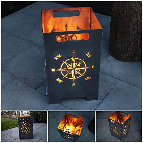 teileplus24 FT01 Feuertonne Feuerschale Feuerkorb Groß Eckig Steckbar Leichte Reinigung,...