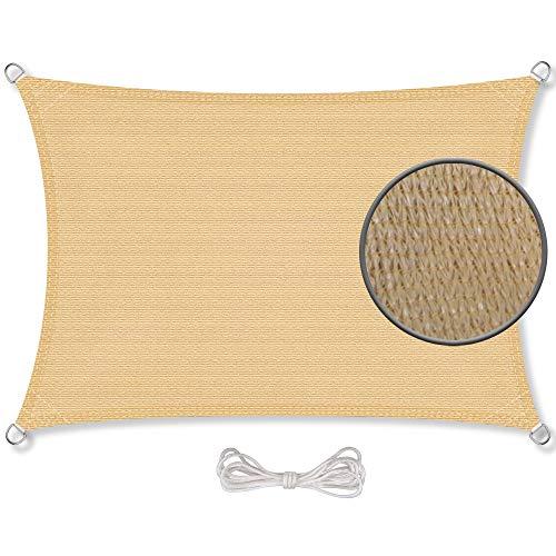 CelinaSun Sonnensegel inkl Befestigungsseile Basic HDPE Rechteck 4 x 6 m sandbeige Sonnenschutz...