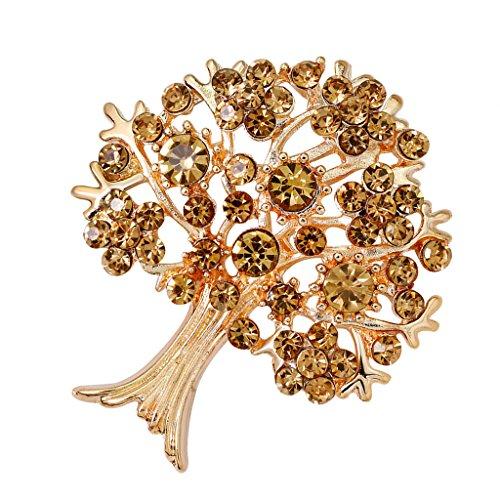 dailymall Emaille Strass Baum Mit Obst Geformt Pin Insekt Stil Brosche Pin Modeschmuck - Gold