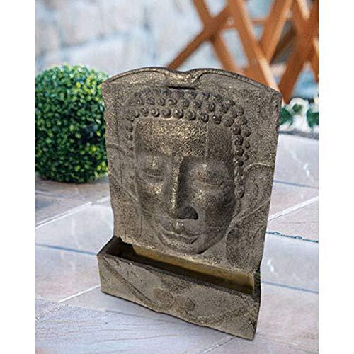 Heissner Garten/Terrassen Brunnen Polystone Buddha, grau