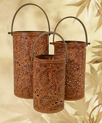 Lesli Living Laternen-Set Paisley 3-TLG. Kerzenhalter Metalllaterne Windlicht Garten Dekoration...