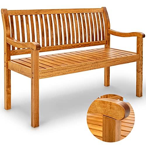 tillvex Gartenbank Holz wetterfest   Parkbank Massivholz   Sitzbank 320 kg belastbar   Holzbank für...