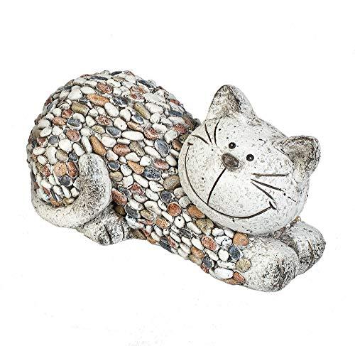 formano Gartenfigur Katze liegend Dekofigur Tierfigur in Kieselstein-Optik aus wetterfestem Magnesia...