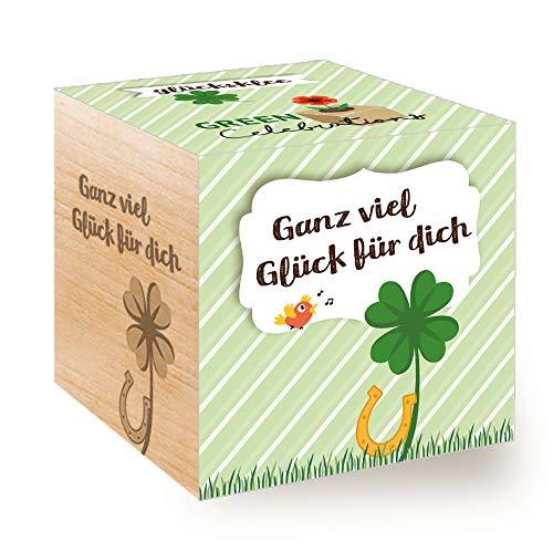 Feel Green Celebrations Ecocube, Glücksklee, Holzwürfel Mit Lasergravur «Ganz Viel Glück Für...