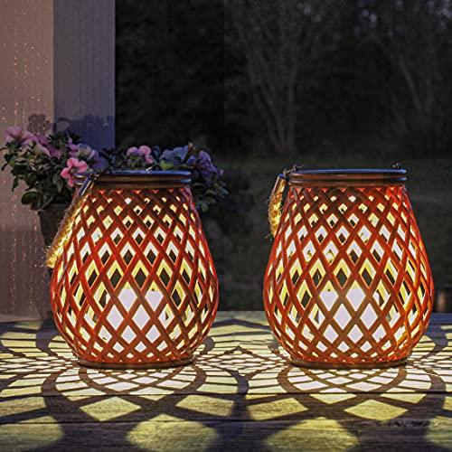 Gadgy Solar Laternen für Draußen | Set 2 Rattan Laterne | solartischlampen für außen | Solar...