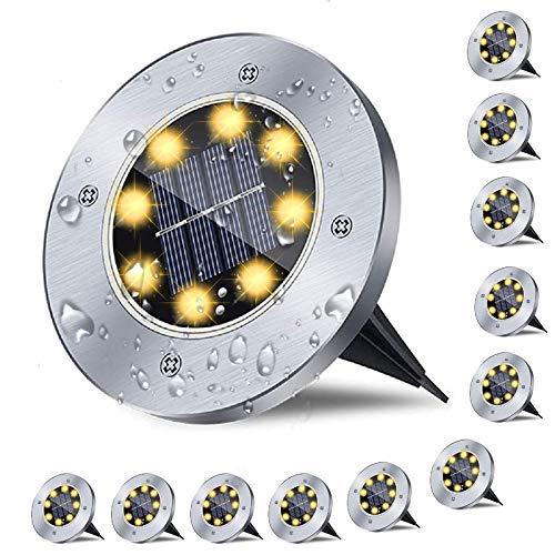 12er Solar Bodenleuchten , Solarlampen für Außen , 8 LED Gartenleuchten Solar, IP65 Wasserdicht...