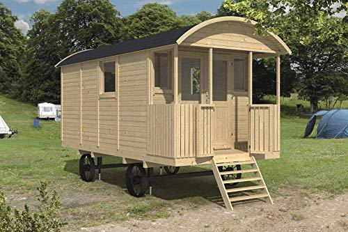 Tuindeco Bauwagen Zirkuswagen mit Veranda aus Holz 240x500cm