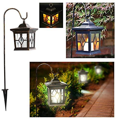 esto24® LED Solar Laterne Vintage incl. Metallstange zum Aufhängen Kerze mit Flammeneffekt und 4...