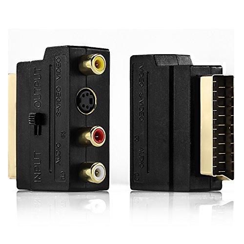 deleyCON Scart auf 3X Cinch Buchsen IN/Out Umschalter + S-Video S-VHS AV Audio Video Adapter -...