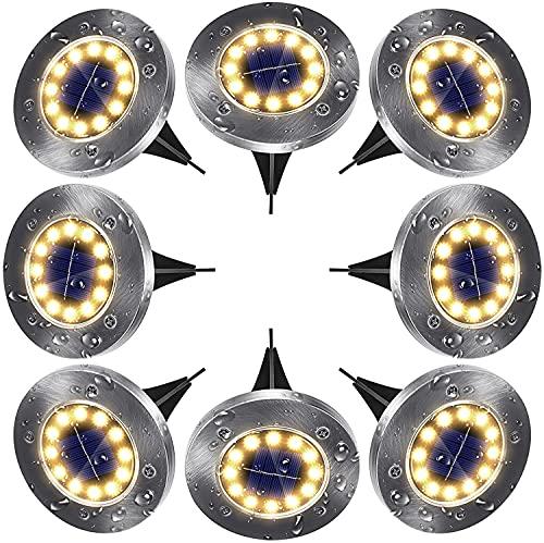 Solar Bodenleuchten Aussen Solarleuchten Garten 8 Stück 12 LEDs Solarlampen LED Gartenleuchten...