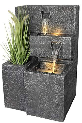 Springbrunnen Grada Bepflanzbar mit LED Beleuchtung, Wasserfall Gartenbrunnen Kaskade...