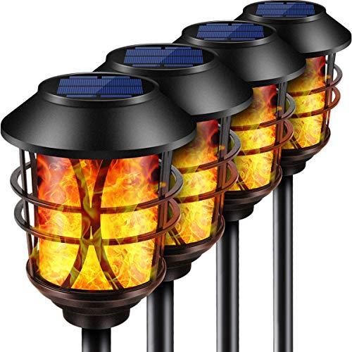 Puaida Solarleuchten Garten Metall Fackel, 99 LED Solarlampen für Außen mit Automatische Ein/Aus...