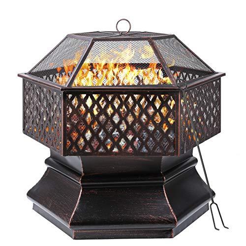femor Feuerschale, 71x71x63cm, 28 '' Sechseckige Feuerstelle Garten, Feuerkorb mit Grillrost,...