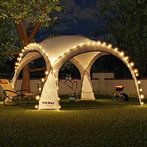 Swing & Harmonie LED Event Pavillon 3,6 x 3,6m DomeShelter Garten Pavillion inkl. Solarmodul...