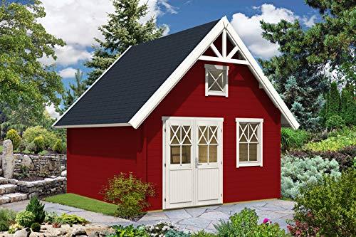 Alpholz Gartenhaus Schwedenhaus 44 mit Anbau aus Massiv-Holz | Gerätehaus mit 44 mm Wandstärke |...