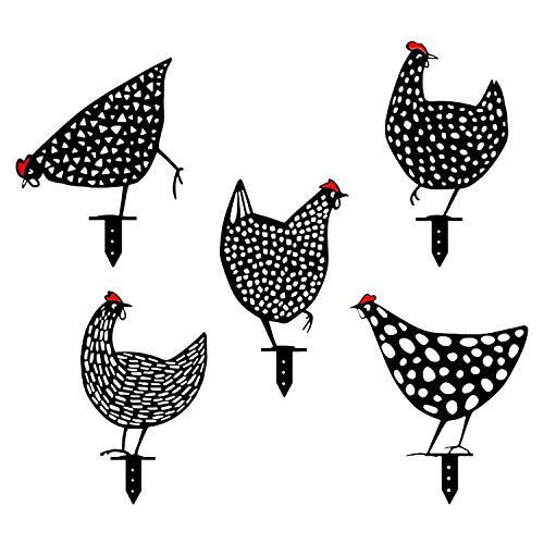 Hahn und Henne Deko 5 Stück Huhn Gartenfiguren für Außen Gartenzwerg Lustig Garten Dekoration...