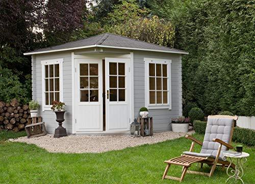 Alpholz 5-Eck Gartenhaus Monica aus Massiv-Holz | Gerätehaus mit 40 mm Wandstärke | Garten...