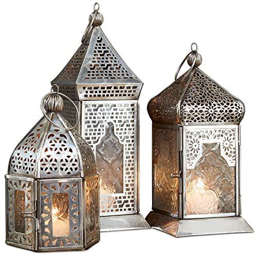 Loberon Laterne 3er Set Indian, Glas/Messing, H/B/T ca. 23/8,5/8,5 cm, Silber