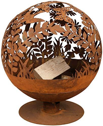 Esschert Design Feuerball in Blumen Optik, laser cut, 58 x 57 x 66 cm, Rost-Optik, aus Stahl, runde...